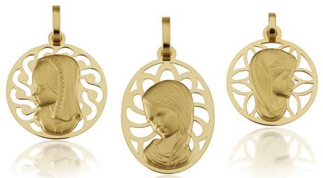medallas de oro, plata, virgenes, cristos